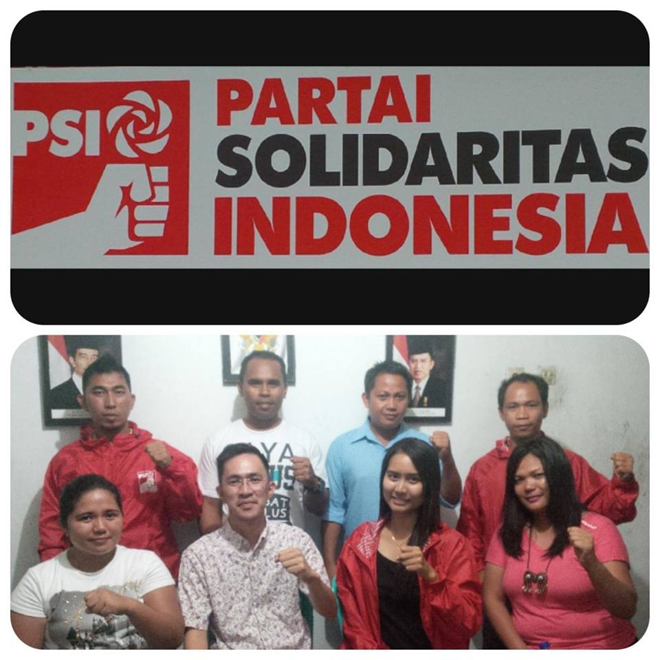 """Foto bersama Ketua DPW PSI Sulut """"Melky Pangemanan, SIP, MAP"""" bersama Ketua DPD PSI Bitung """"Michelle Rompis, SE MM"""" dan perwakilan DPC-DPC PSI se-Kota Bitung usai KOPDARDA"""