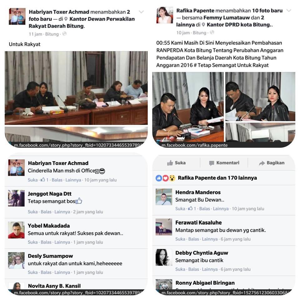 Postingan FB HabryanToxer Achmad dan Rafika Papente.