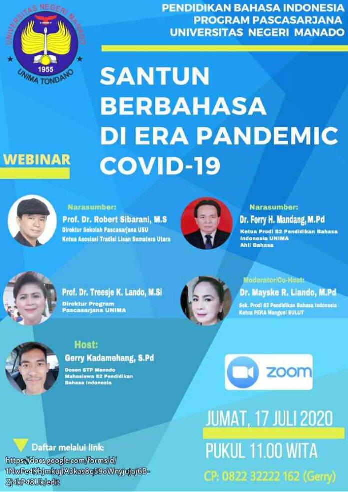 PPS Pendidikan Bahasa Indonesia Unima Gelar Webinar