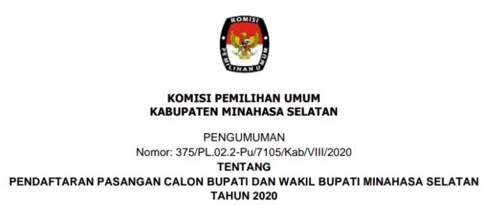 KPU Minsel Umumkan Pendaftaran Pasangan Calon Bupati dan Wakil Bupati