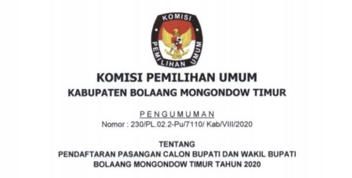 KPU Boltim Umumkan Pendaftaran Pasangan Cabup dan Cawabup