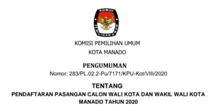 KPU Manado Umumkan Pendaftaran Pasangan Calon Walikota dan Wakil