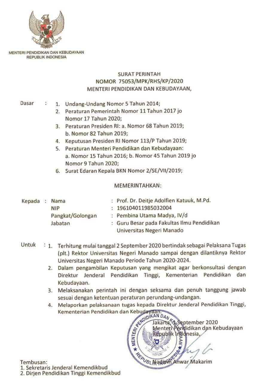 Menteri Nadiem Perintahkan Katuuk Jabat Pelaksana Tugas Rektor Unima