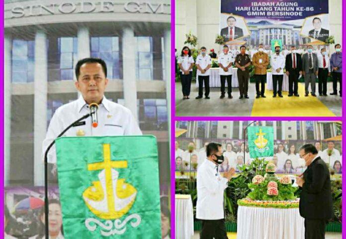 Pjs Gubernur Sulut Agus Fatoni Sosialisasikan 4M saat Hadir di HUT ke-86 GMIM Bersinode