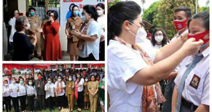 TP PKK Sulut Marathon Bagi Masker ke Sekolah dan Panti Asuhan