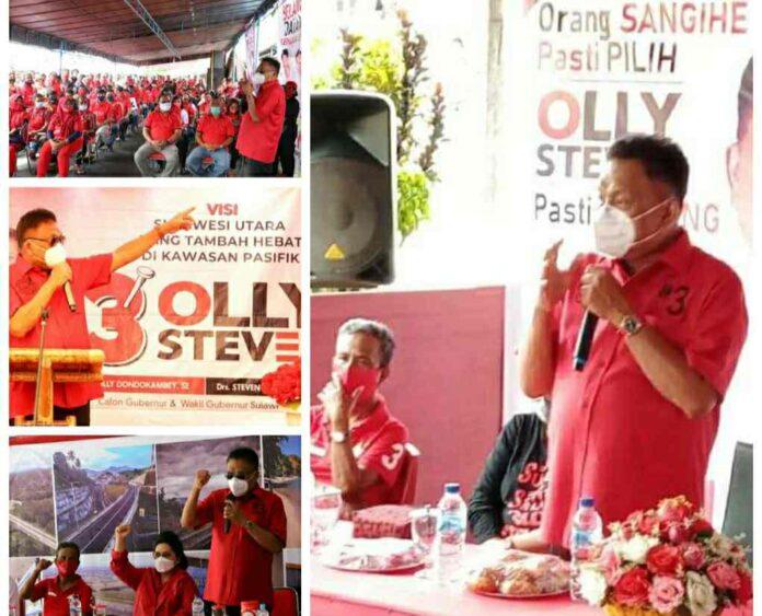 Olly Lantik Pengurus PAC PDIP Sangihe dan Relawan Barols