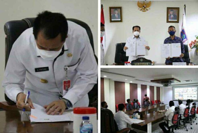 Pjs Gubernur Fatoni dan KaPer BPKP Sulut Tanda Tangani Nota Kesepakatan Terkait Pengawasan