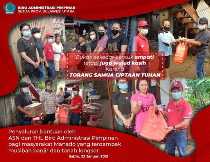 Biro Adpim Pemprov Sulut Ringankan Beban Korban Banjir Manado