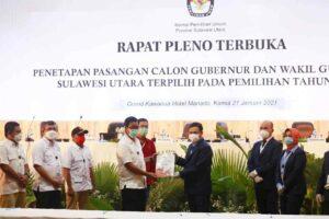 KPU Tetapkan Olly-Steven sebagai Gubernur dan Wagub Sulut Terpilih