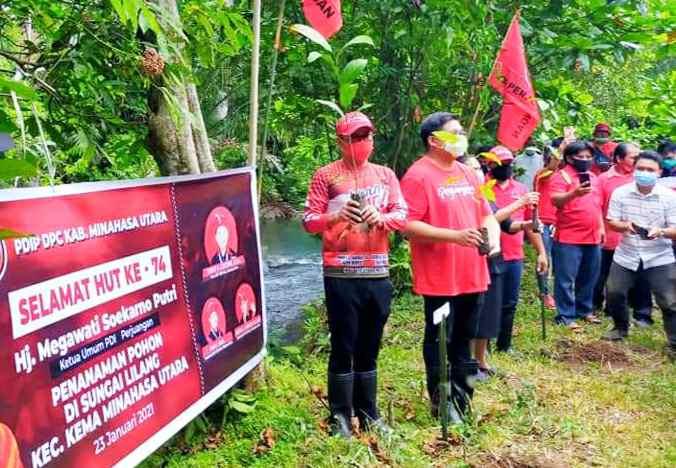 Peringati HUT Ketum Megawati JG-KWL dan Unsur DPC PDIP Minut Tanam 1000 Pohon