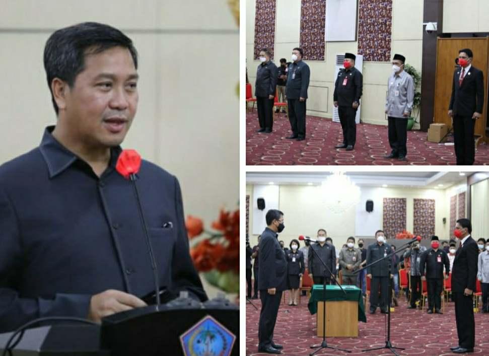 Wagub Kandouw Lantik Ringkuangan Penjabat Sekot Tomohon dan Serahkan SK 5 PLH Bupati/Walikota se-Sulut