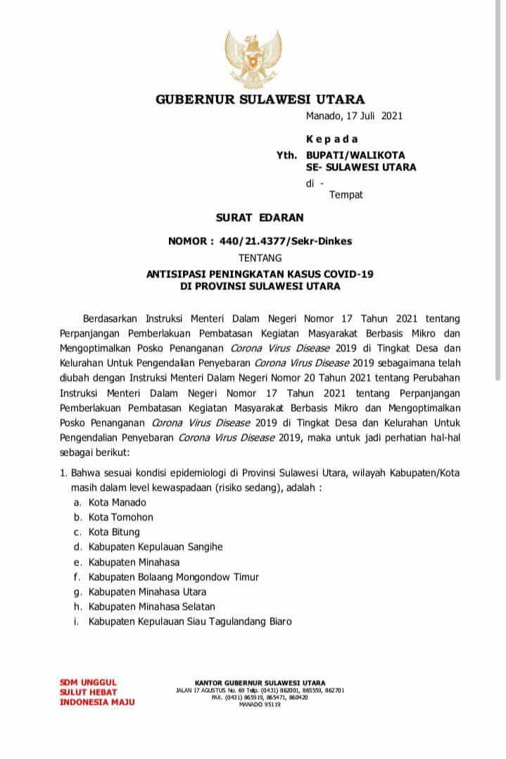 Ini 15 Aturan SE Gubernur Berlaku di Sulut Hingga 1 Agustus