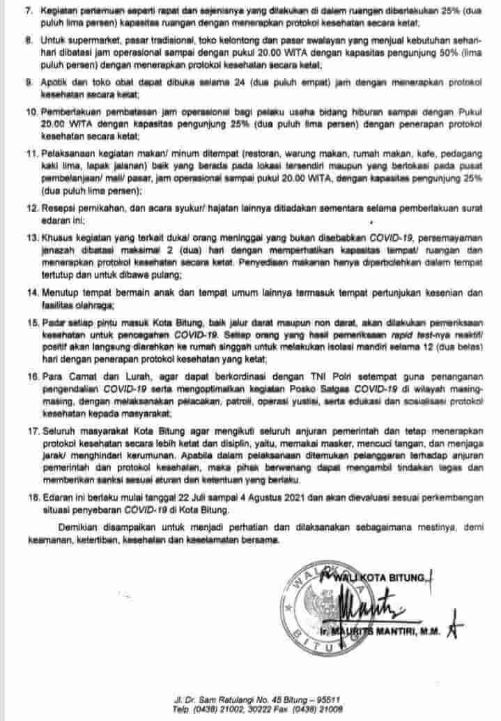 18 Poin Acuan Surat Edaran Walikota Mantiri Perketat PPKM Mikro di Bitung