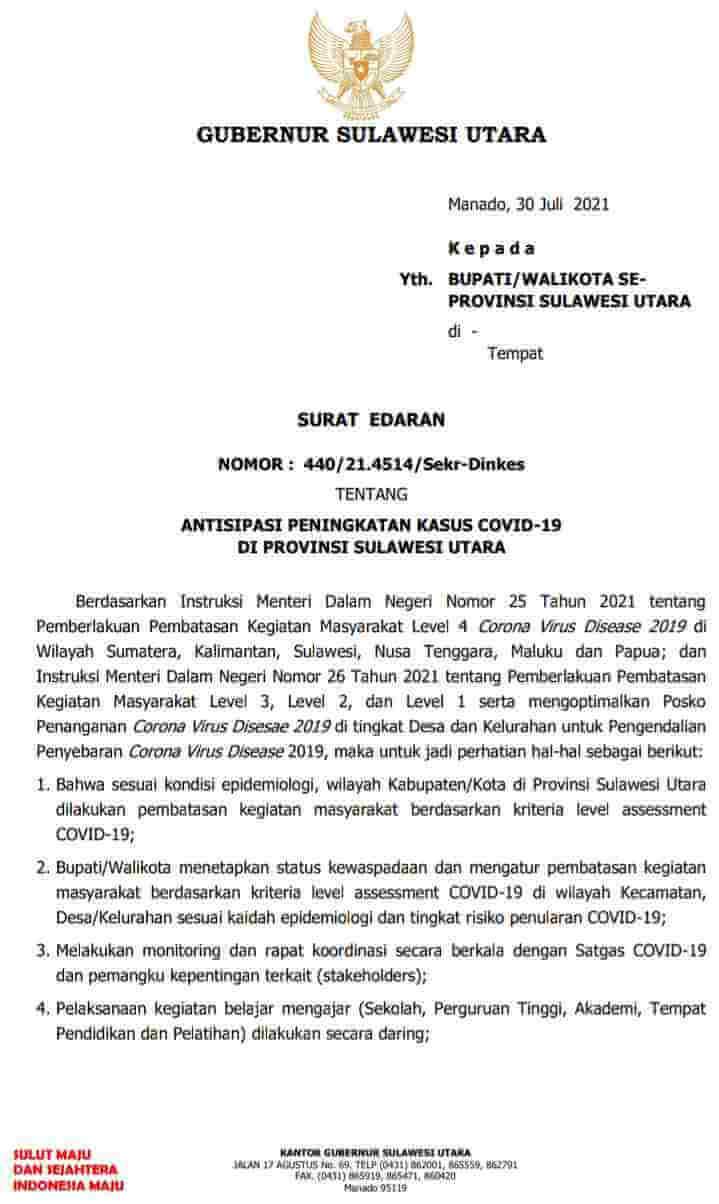 15 Poin Surat Edaran Gubernur Sulut termasuk Belajar