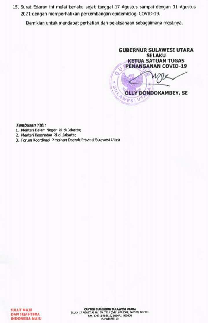 Begini 15 Poin Perpanjangan PPKM di Sulut Hingga 31 Agustus
