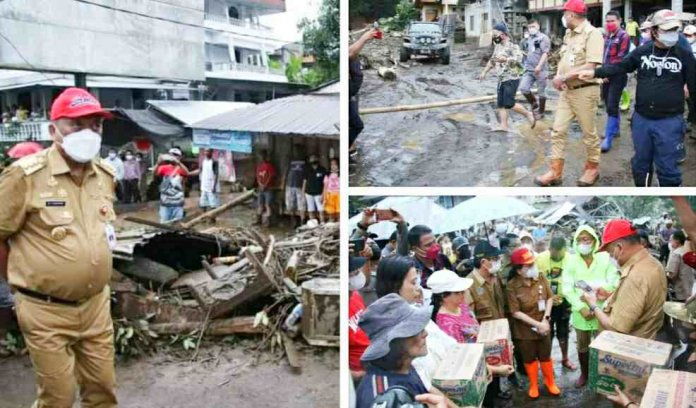 Gubernur Olly Tinjau dan Bagikan Bantuan ke Warga Korban Banjir Bandang di Pangu dan Wioi